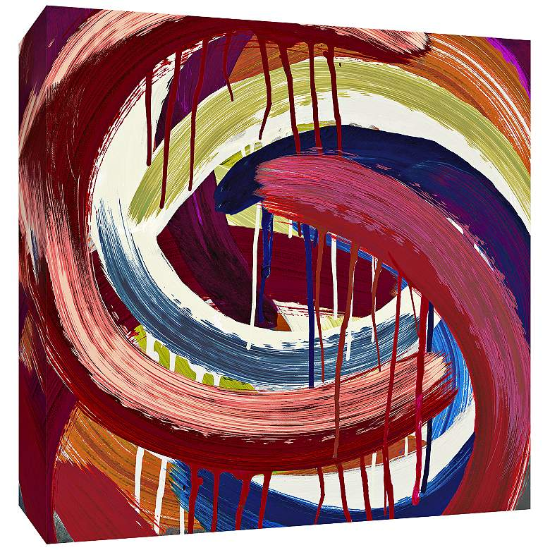 """Red Abstract Swirls 30"""" Square Canvas Wall Art"""