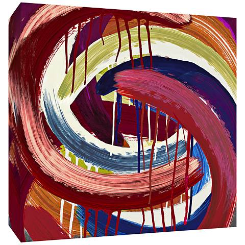 "Red Abstract Swirls 30"" Square Canvas Wall Art"