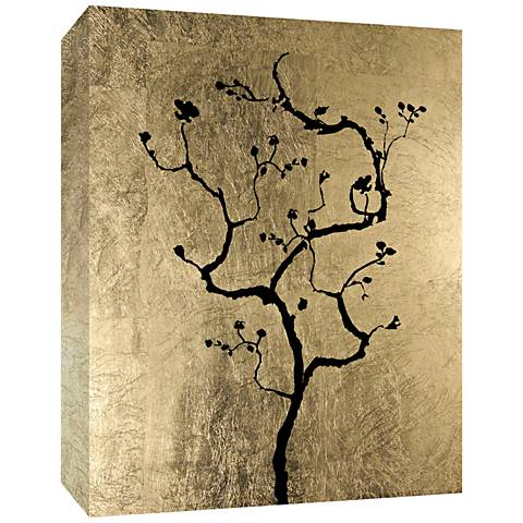 "Tree on Gold Embellished 24"" High Canvas Wall Art"