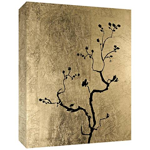 "Tree on Gold II Embellished 24"" High Canvas Wall Art"