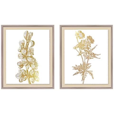 """Botanical 23 1/2"""" High 2-Piece Framed Giclee Wall Art Set"""