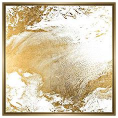 "Gold Clouds I 31 3/4"" Square Canvas Wall Art"