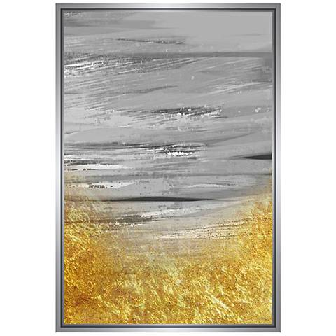 """Gray and Gold Embellished 37 3/4""""H Framed Canvas Wall Art"""