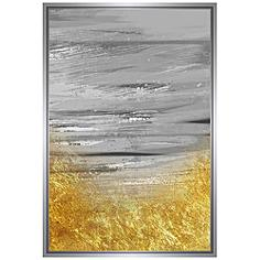"Gray and Gold Embellished 37 3/4""H Framed Canvas Wall Art"