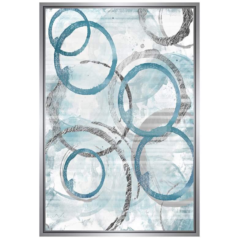 "Blue Circles Framed 37 3/4"" High Framed Canvas Wall Art"
