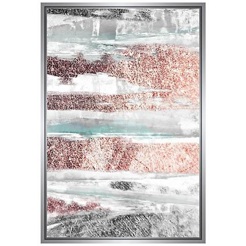 "Silver and Rose Abstract 37 3/4""H Framed Canvas Wall Art"