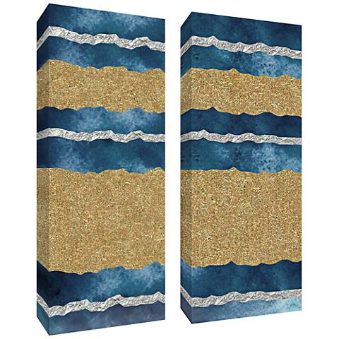 """Blue and Gold Leaf Abstract 40""""H 2-Piece Canvas Wall Art Set"""