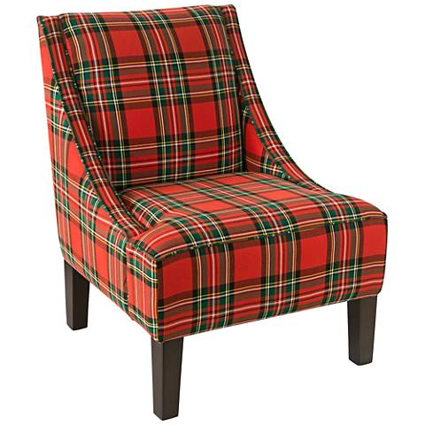 Uptown Ancient Stewart Red Fabric Swoop Armchair