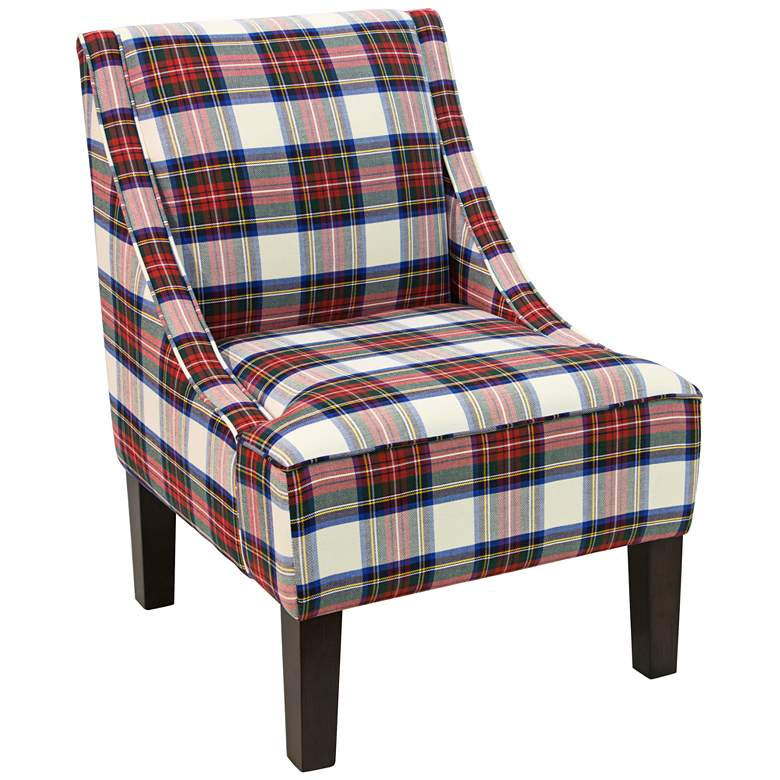 Uptown Stewart Dress Multi-Color Fabric Swoop Armchair