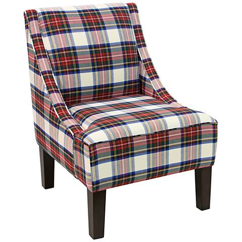 Uptown Stewart Dress Multi-Color Fabric Swoop Armchair