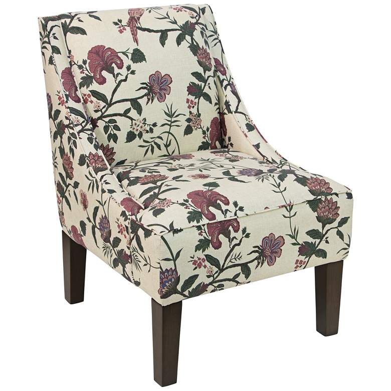 Uptown Shaana Holiday Red Fabric Swoop Armchair