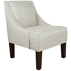 Uptown Groupie Oyster Fabric Swoop Armchair