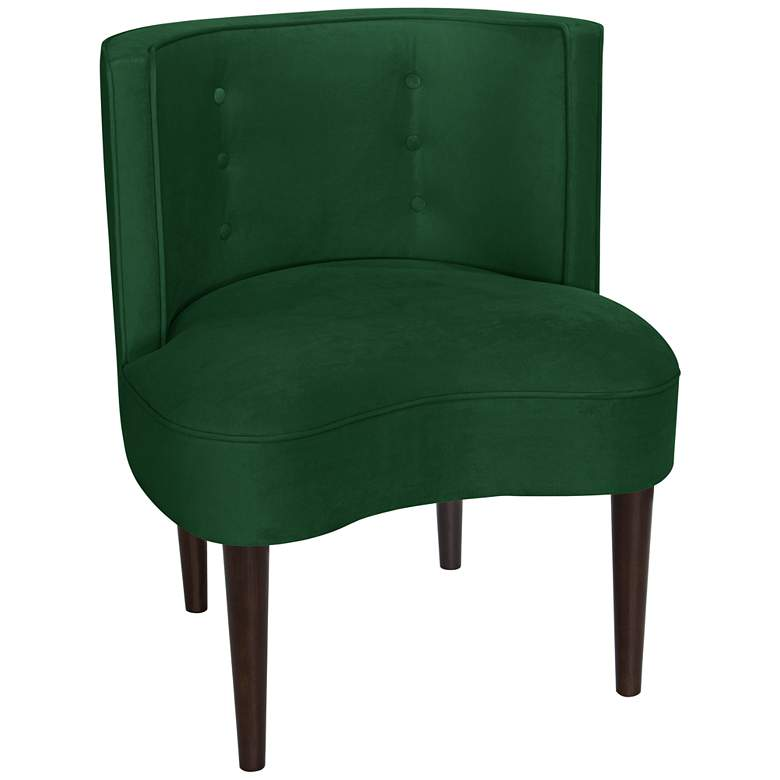 Curve Ball Fauxmo Emerald Green Fabric Armless Accent