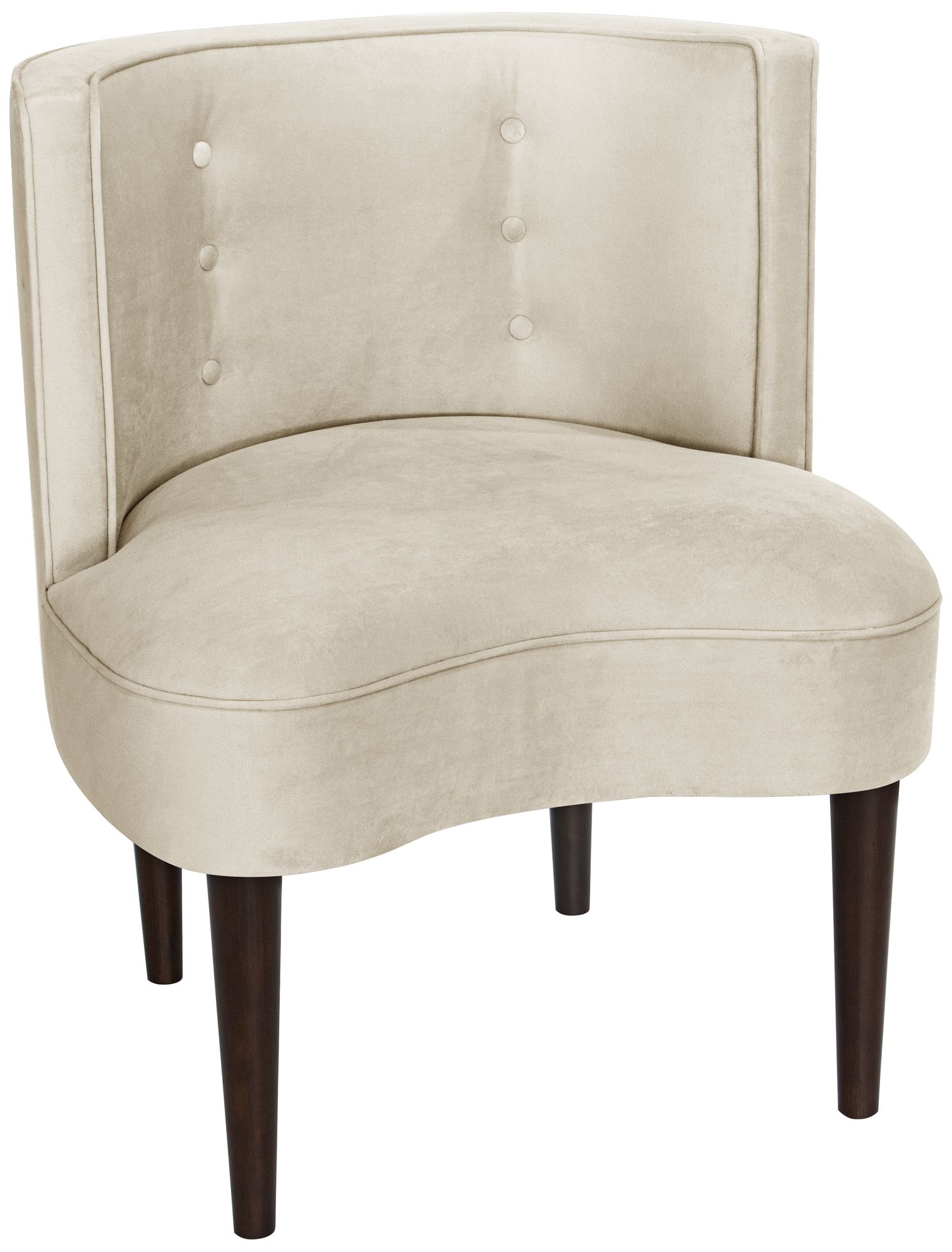 Curve Ball Regal Antique White Fabric Armless Accent Chair   #12R83 | Lamps  Plus