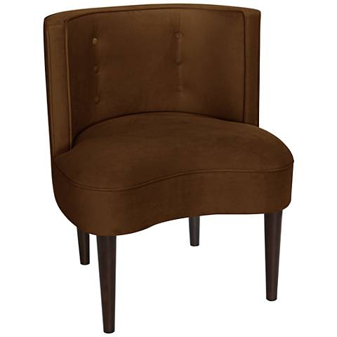 Curve Ball Regal Chocolate Fabric Armless Accent Chair
