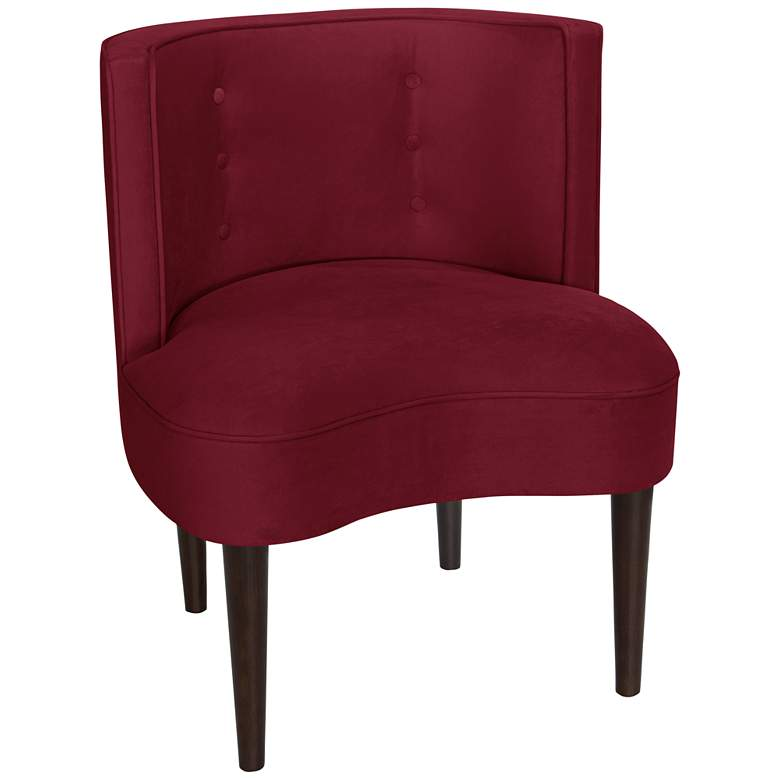Curve Ball Red Velvet Berry Fabric Armless Accent Chair