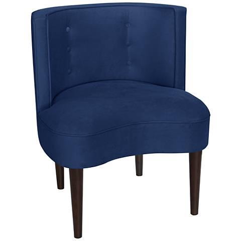 Curve Ball Velvet Navy Blue Fabric Armless Accent Chair
