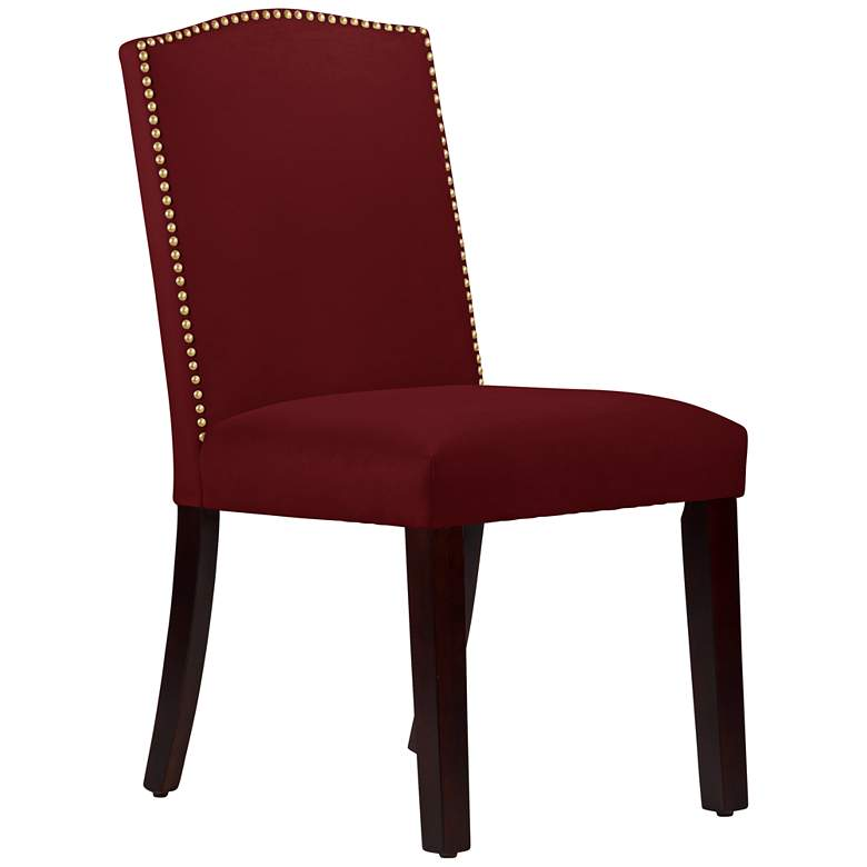 Calistoga Velvet Red Berry Fabric Arched Dining Chair