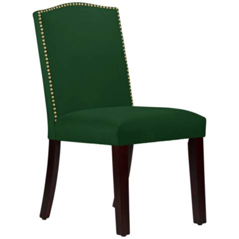 Calistoga Fauxmo Emerald Fabric Arched Dining Chair 12t28 Lamps Plus