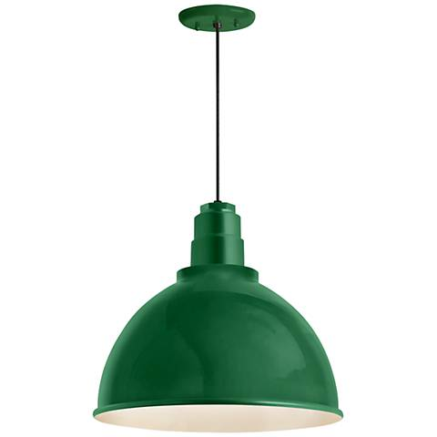 "RLM Deep Reflector 12""H Hunter Green Outdoor Hanging Light"