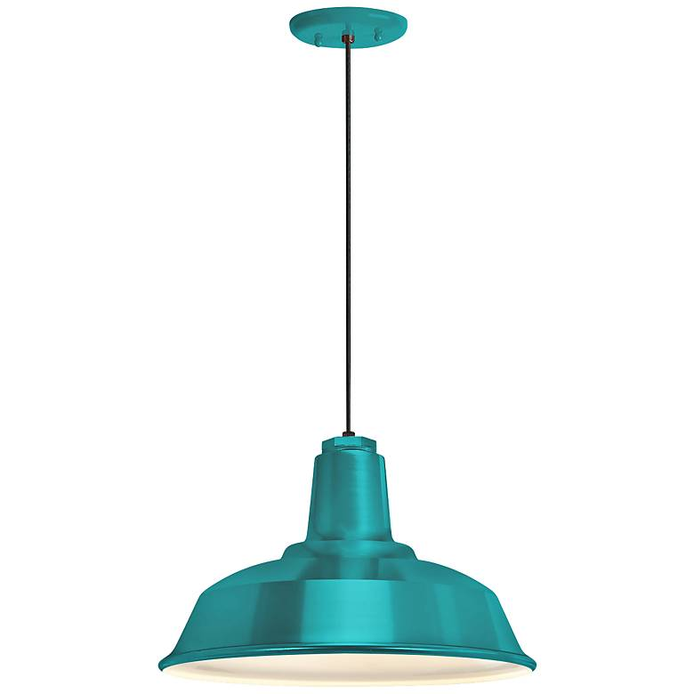 """RLM Heavy Duty 8 1/4""""H Tahitian Teal Outdoor Hanging Light"""
