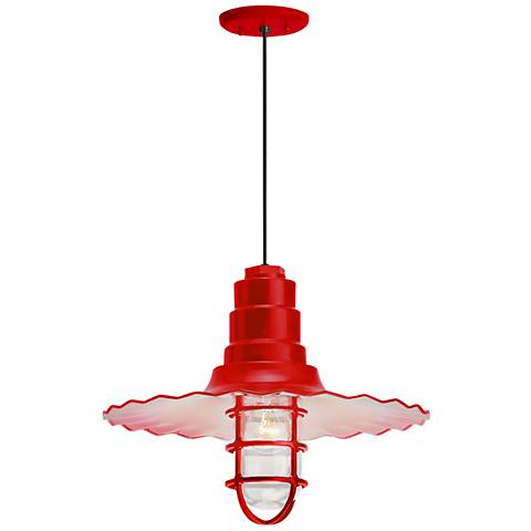 """RLM Radial Wave 7""""H Red Outdoor Hanging Light"""
