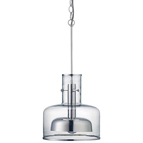 "Clyde 14 1/4"" Wide Clear Glass with Nickel Pendant Light"