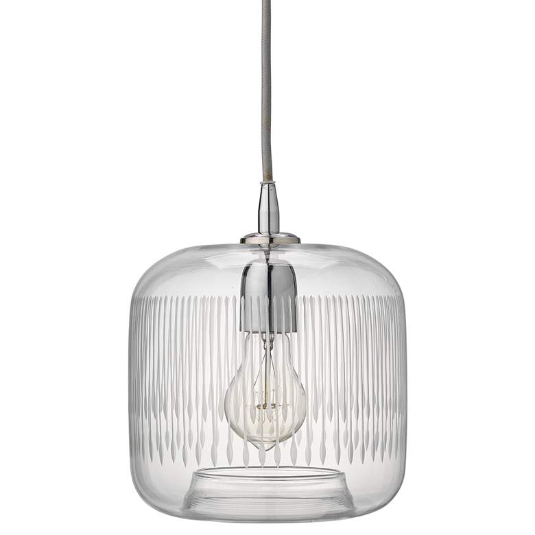 "Contour 7 1/2"" Wide Clear Glass with Nickel Mini Pendant"