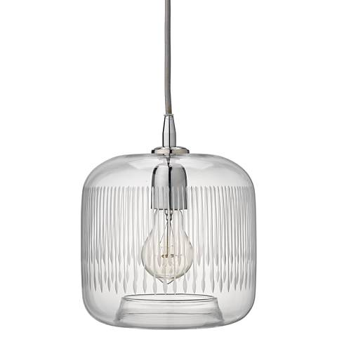 """Contour 7 1/2"""" Wide Clear Glass with Nickel Mini Pendant"""