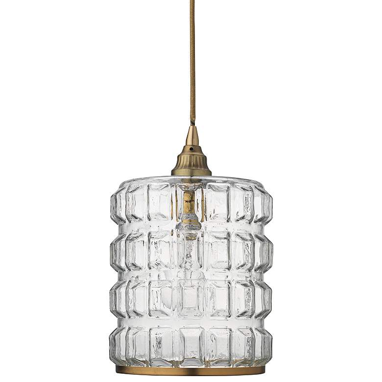 """Madison 8 1/2"""" Wide Clear Glass with Brass Mini Pendant"""