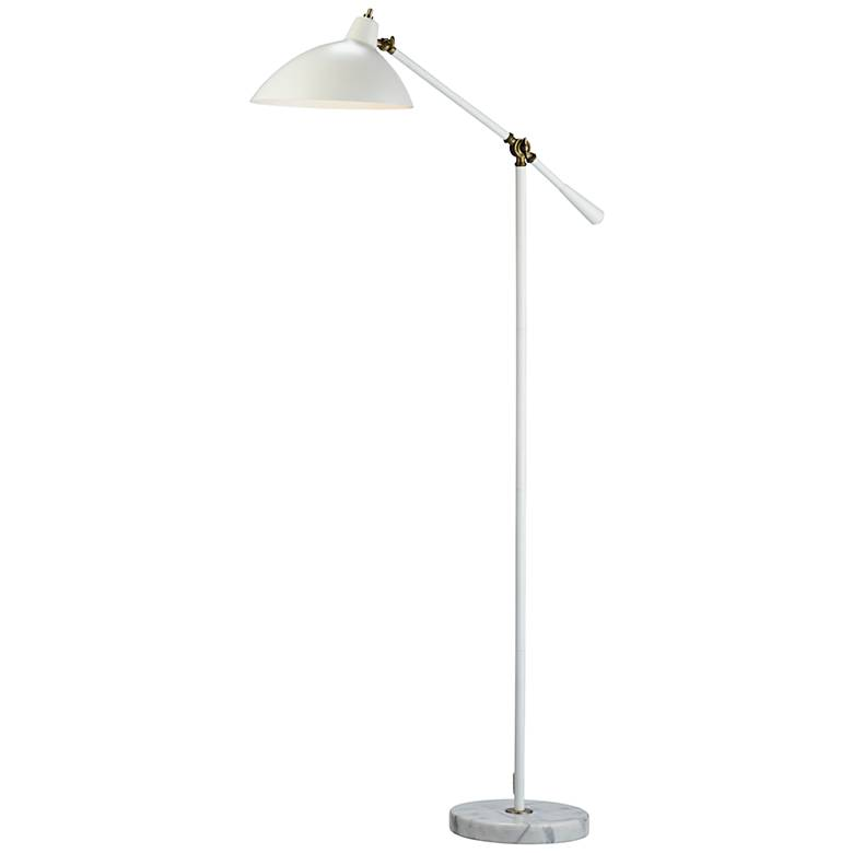 Peggy White and Antique Brass Adjustable Floor Lamp