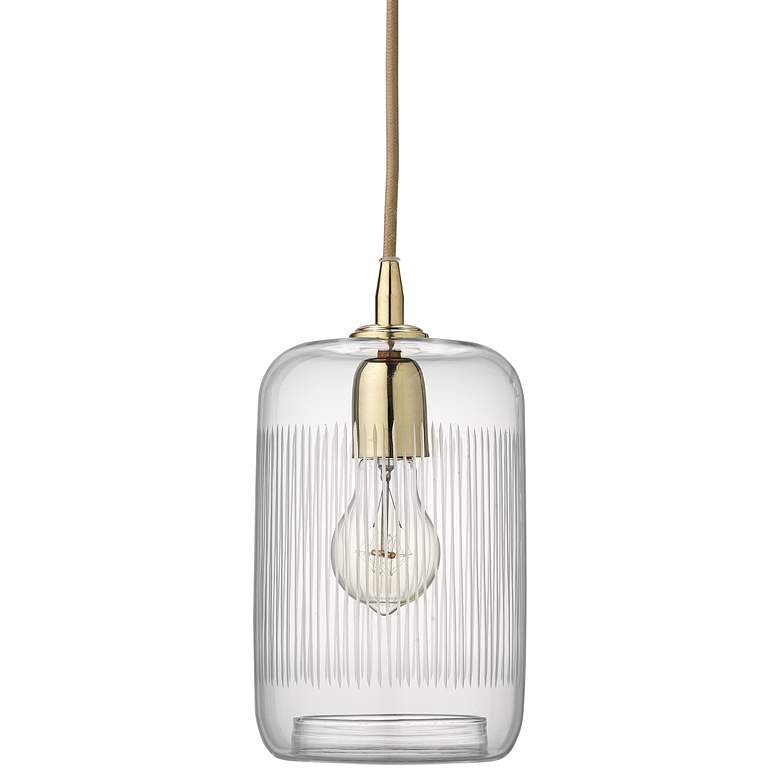 """Silhouette 6"""" Wide Clear Glass with Brass Mini Pendant"""