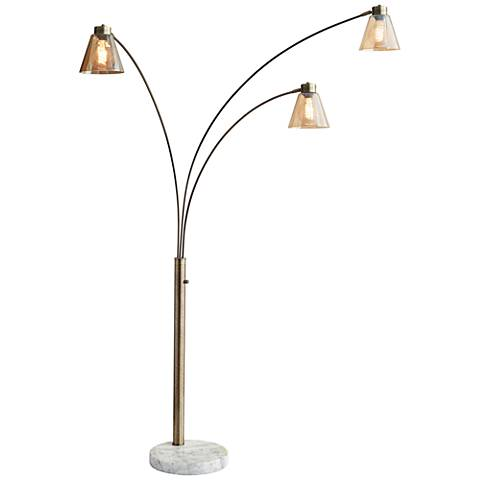 Sienna Antique Brass Adjustable 3-Arm Arc Floor Lamp