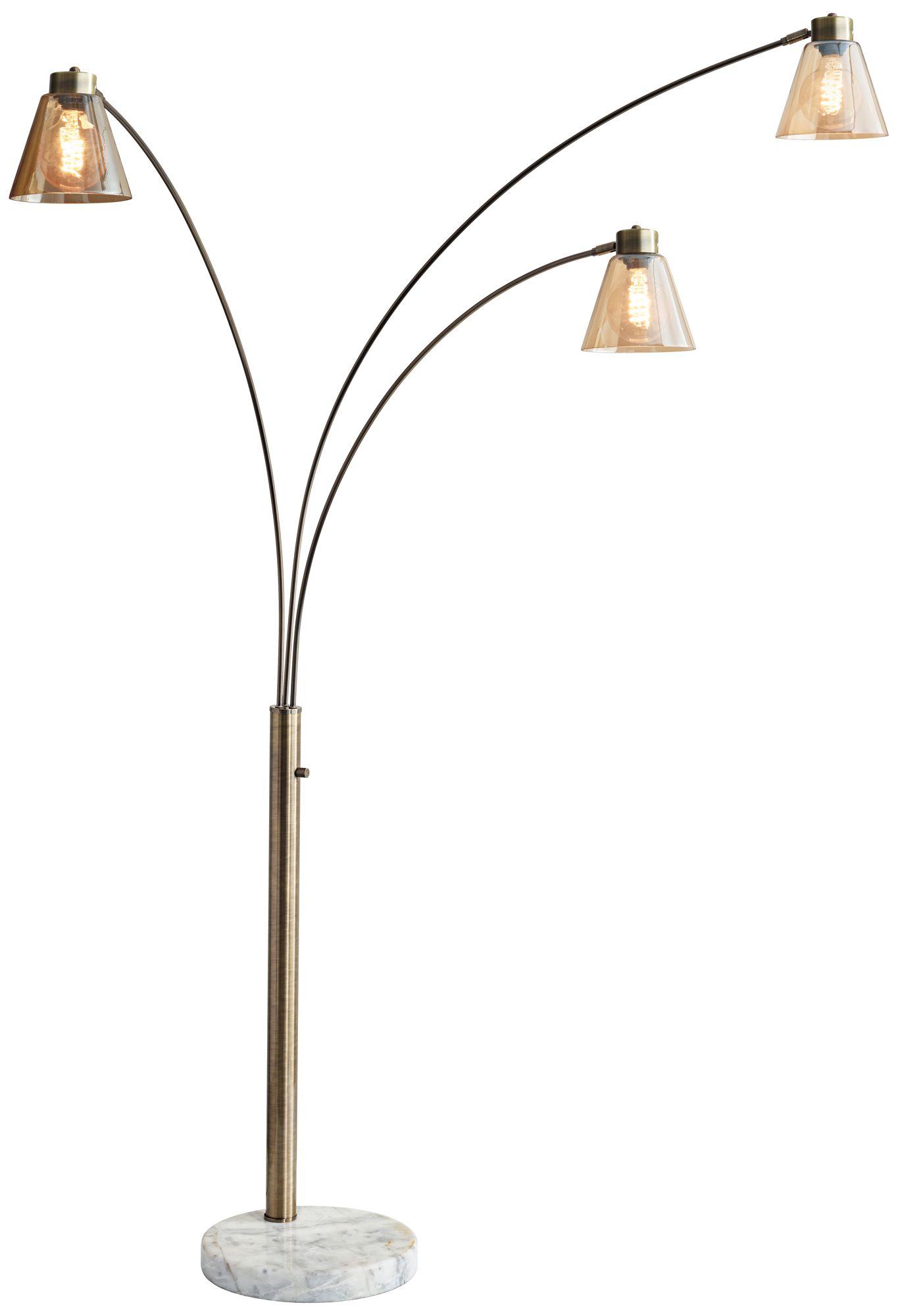 Charmant Sienna Antique Brass Adjustable 3 Arm Arc Floor Lamp