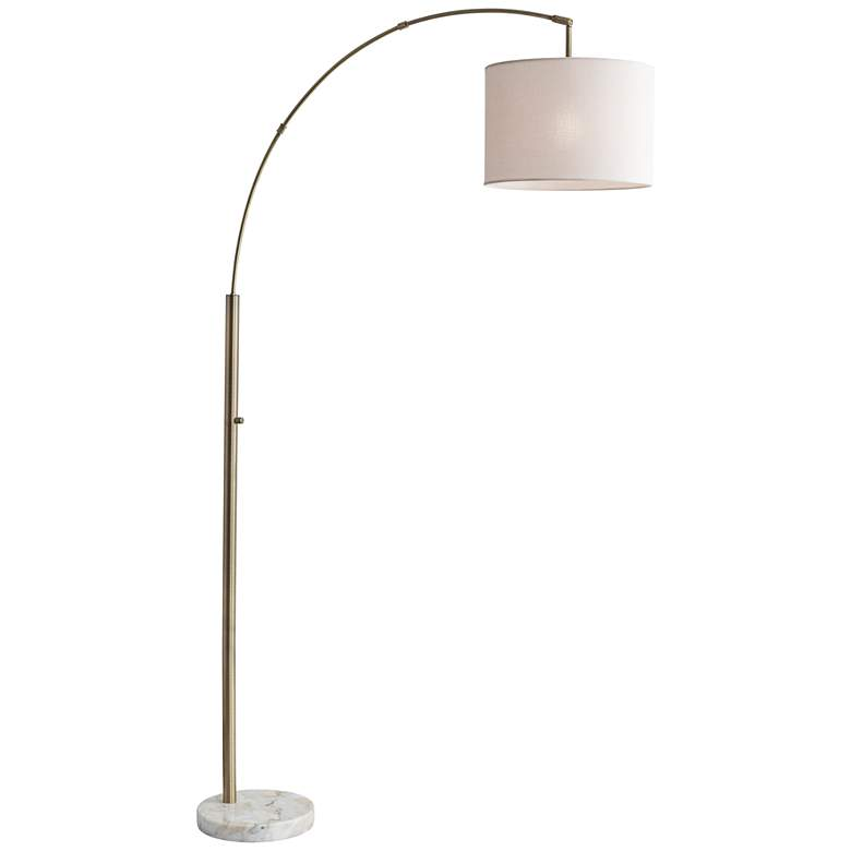Bowery Antique Brass Adjustable Arc Floor Lamp