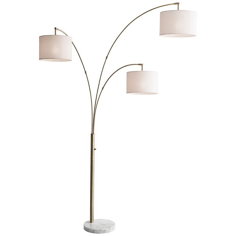 Bowery Antique Brass Adjustable 3-Arm Arc Floor Lamp