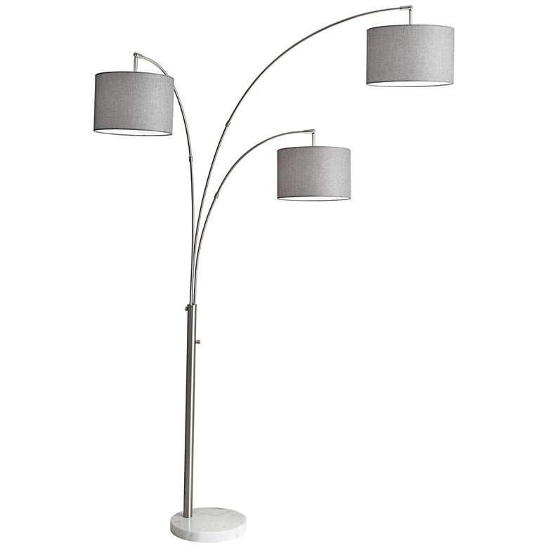 Bowery Brushed Steel Adjustable 3-Arm Arc Floor Lamp
