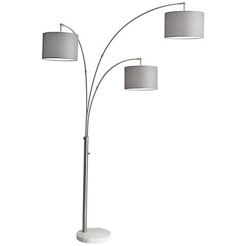 Bowery Brushed Steel Adjustable 3-Arm Arc Floor Lamp - #12W15 ...