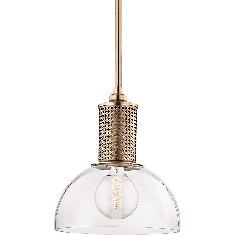 "Hudson Valley Halcyon 14"" Wide Aged Brass Pendant Light"
