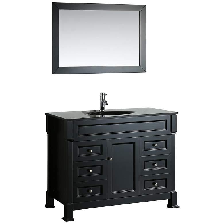 "Bosconi 43"" Black 6-Drawer Black Glass 1-Sink Vanity"