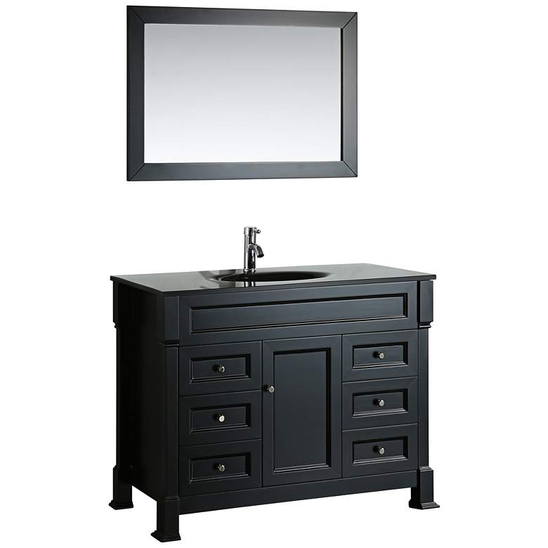"Bosconi 43"" Black 6-Drawer Black Glass 1-Sink Vanity Set"
