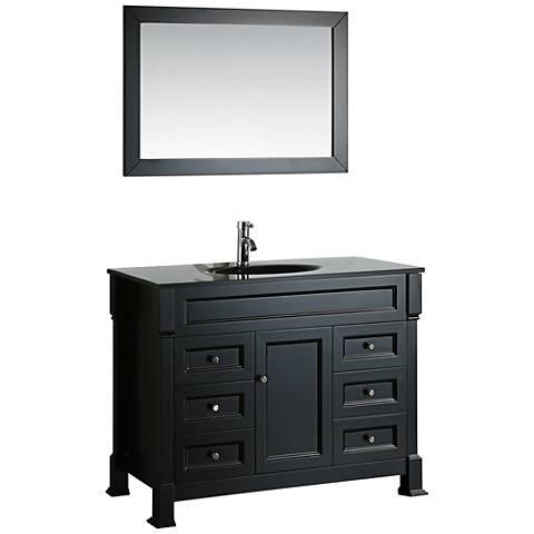 "Bosconi 43"" Black 6-Drawer Black Glass 1-Sink Vanity Set"