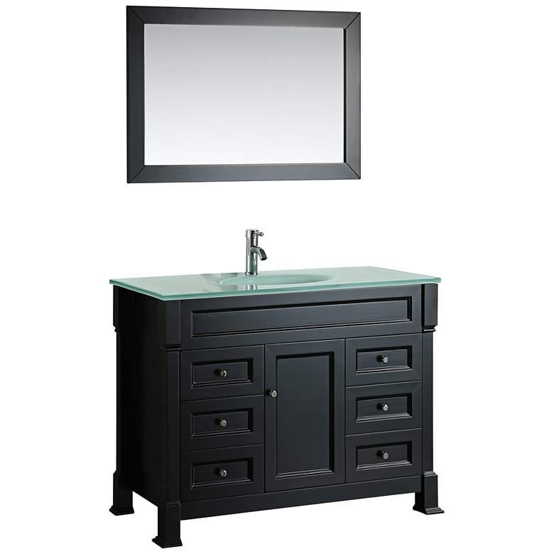 """Bosconi 43"""" Black 6-Drawer White Glass 1-Sink Vanity Set"""