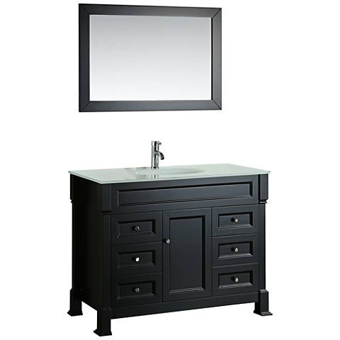 """Bosconi 43"""" Black 6-Drawer Extra-White Glass Vanity Set"""