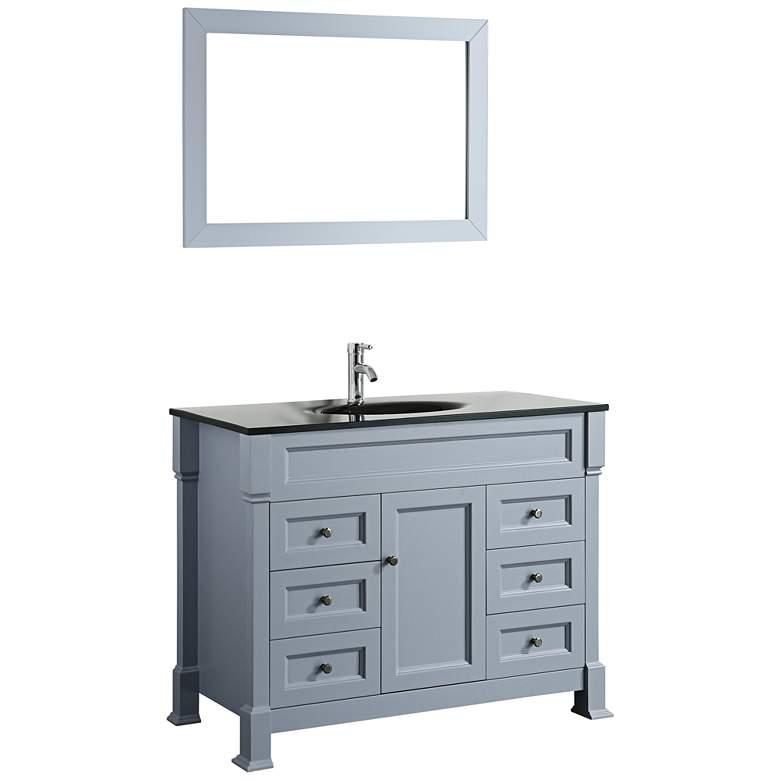 "Bosconi 43"" Gray 6-Drawer Black Glass 1-Sink Vanity"