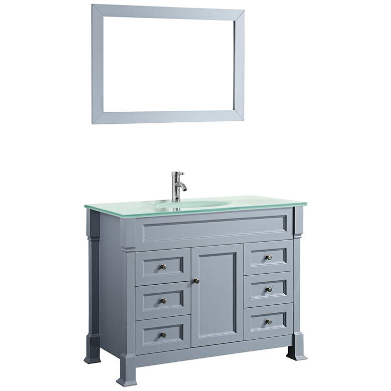"Bosconi 43"" Gray 6-Drawer White Glass 1-Sink Vanity"