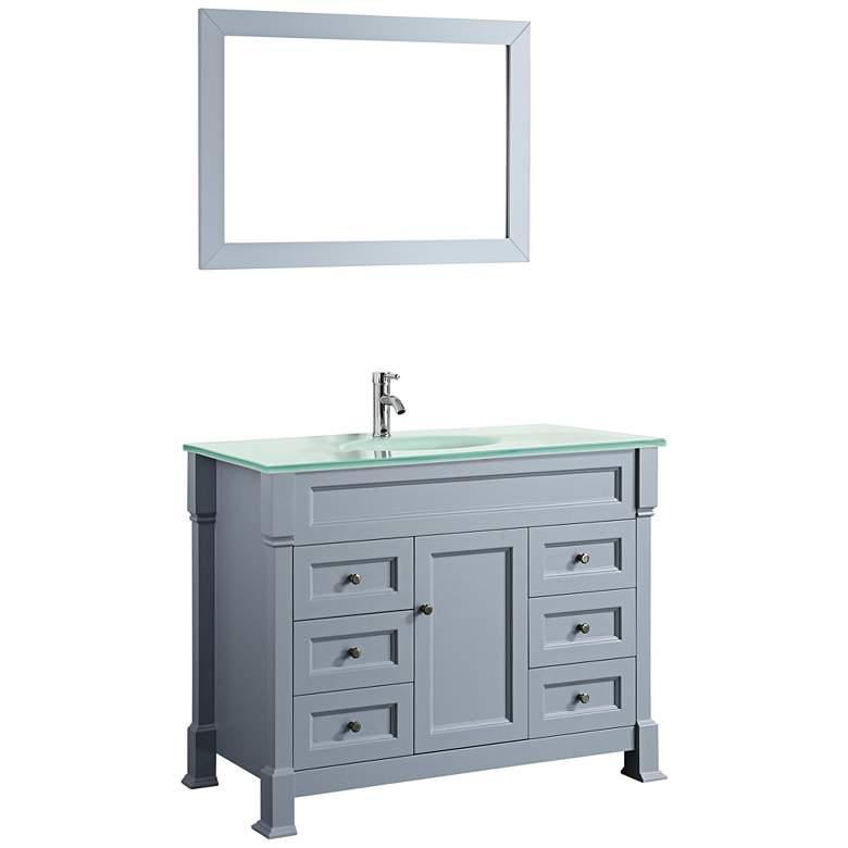"""Bosconi 43"""" Gray 6-Drawer White Glass 1-Sink Vanity Set"""