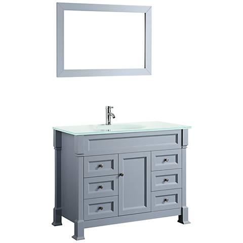 """Bosconi 43"""" Gray 6-Drawer Extra-White Glass Vanity Set"""