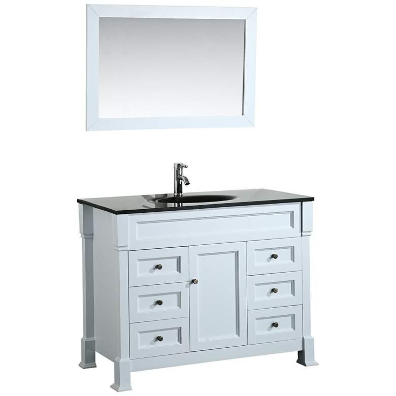 "Bosconi 43"" White 6-Drawer Black Glass 1-Sink Vanity"