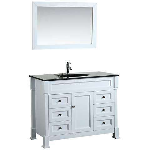 """Bosconi 43"""" White 6-Drawer Black Glass 1-Sink Vanity Set"""